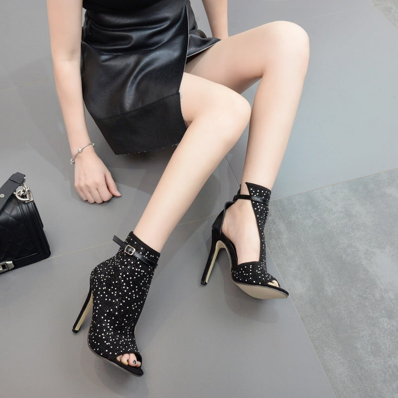 Open Toe Hollow Out Crystal Flock High Heel Pumps.