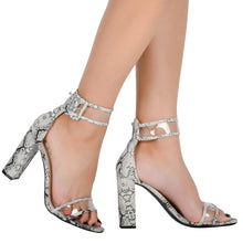 Round Toe T-Stage Stiletto High Heel Shoes. (Square Heel Buckle Strap Shoes)