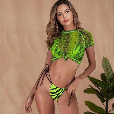 Zebra Printed Three Piece Bikini Set. (2 Colors Available)