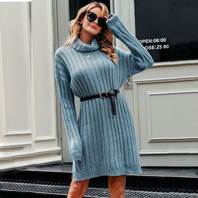 Side Split Knitted Turtleneck Mini Sweater Dress. (2 Colors Available)