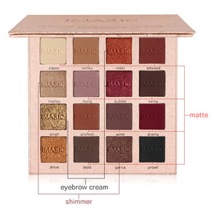 Shimmer Pigmented Eyeshadow Mirrored Palette. (16 Colors Powder Palette)