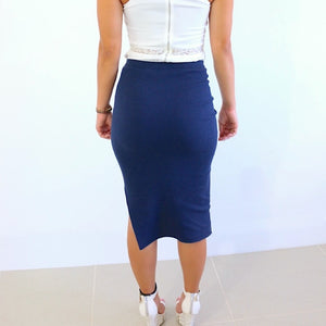 Side-Bottom Split Wool Rib Knitted Pencil Midi Skirt. (5 Colors Available)