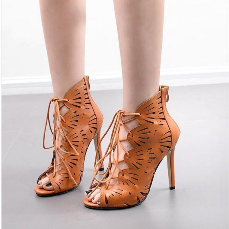 Thin Heel Hole Hollow Cross Strap Peep Toe Gladiator Sandals.