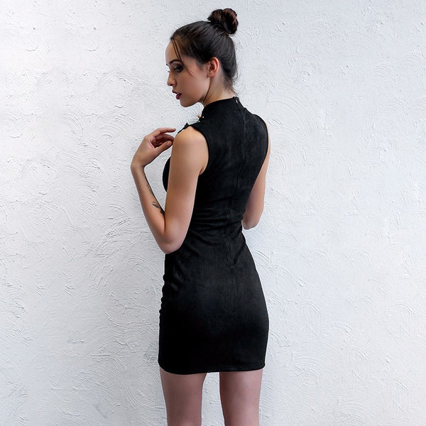 High Split Hollow Out Halter Bandage Mini Dress. (2 Colors Available)