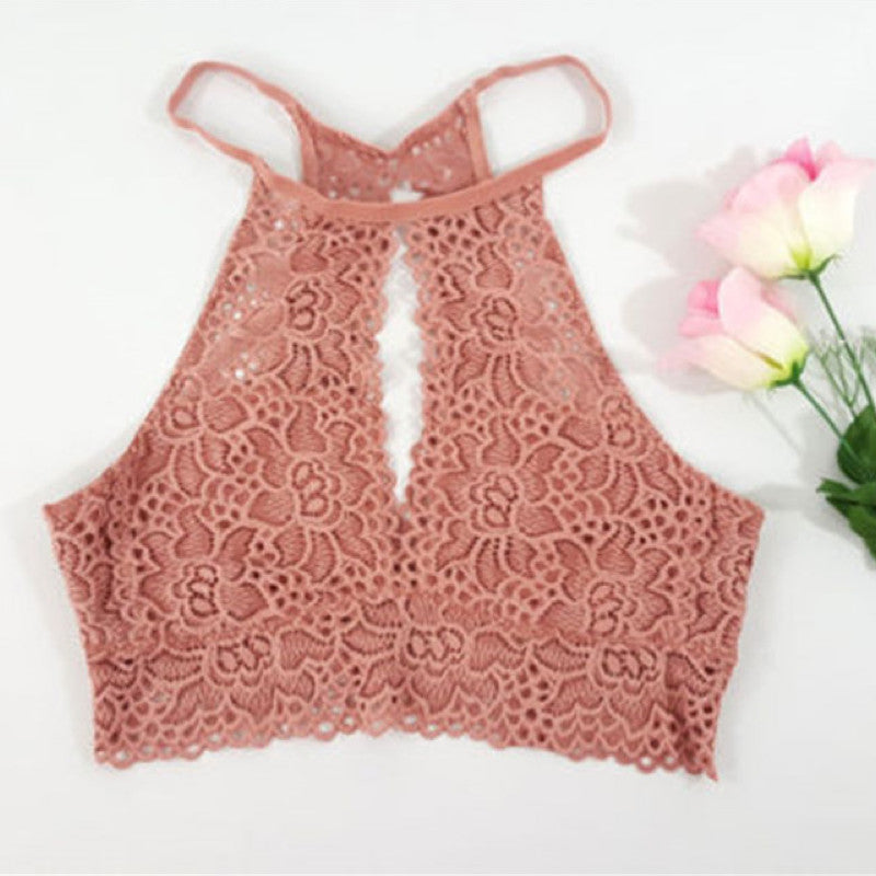 295b0f58d7f28 Backless Sleeveless Lace Floral Vest Crop Top. (3 Colors Available ...