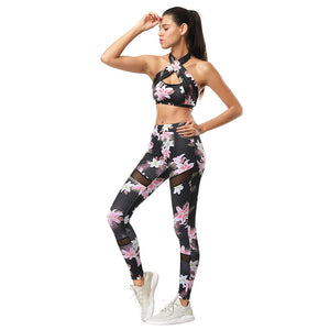 Floral Printed Fitness Tracksuit Set. (Padded Sports Bra + Leggings)