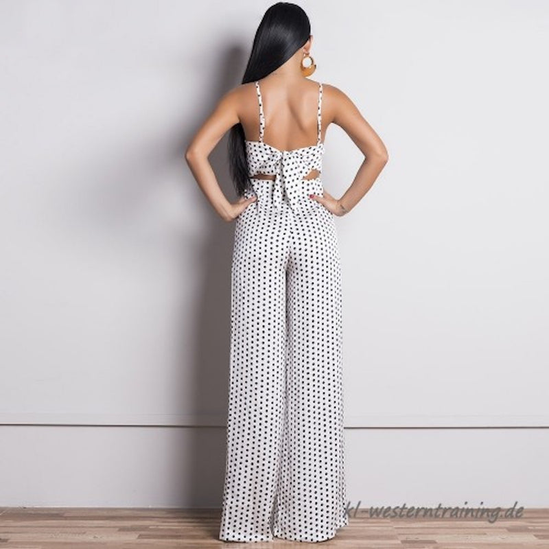 Backless Spaghetti Straps Dot Printed Back Tie Jumpsuit. (2 Colors Available)