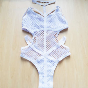 Sheer Knit Net Mesh One Piece Swimsuit. (2 Colors Available)