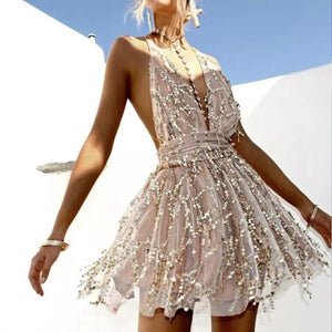 Backless Tassel Halter Sequined Mini Chiffon Dress. (2 Colors Available)