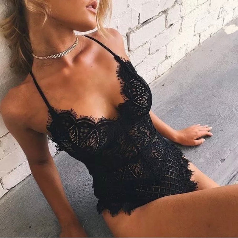 One Piece Cut Out Lace Bodysuit. (4 Colors Available)