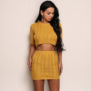 Mid Sleeve Knitted Winter Two Piece Set. (2 Colors Available)