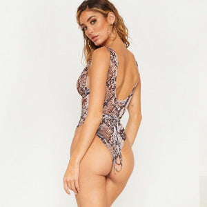 Bandage Push Up Snake & Leopard Print One Piece Swimsuit. (3 Colors Available)