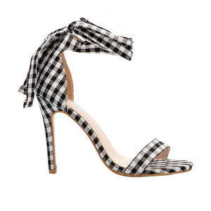 Ankle Strap Cross-Tied Lace Up Plaid Heeled Sandals. (3 Colors Available)