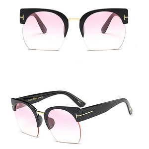 Women Brand Designer Semi-Rimless Vintage Sunglasses. (11 Colors Available)