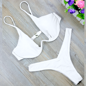 Solid High Cut Thong Style Bathing Suit. (18 Styles Available)