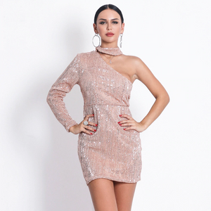 One Shoulder Elastic Bodycon Sequined Dress.