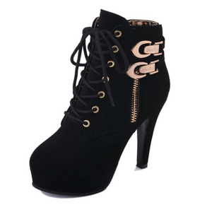 Ankles High Lace Up Buckle Strap Platform Boots. (3 Colors Available)
