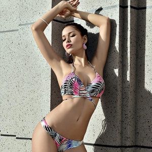 Low Waist Cross Style Triangle Print Two Piece Bikini. (2 Colors Available)