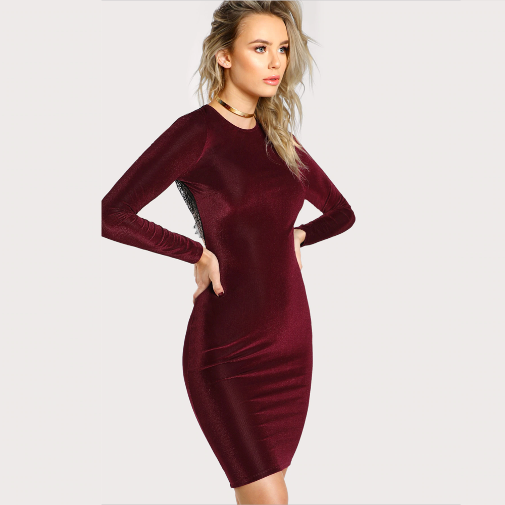 Burgundy Round Neck Long Sleeve Open Back Dress.