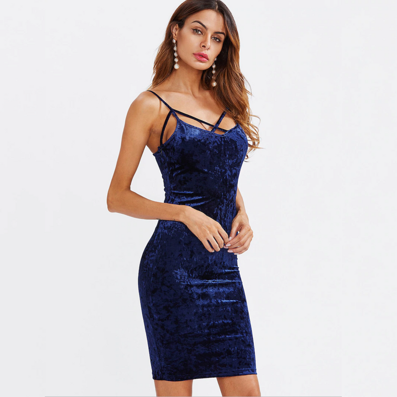 Royal Blue Strap Cross Hollow Out Slim Dress.