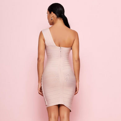 Sequined One-Shoulder Bandage Bodycon Mini Dress. (5 Colors Available)
