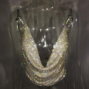 Shiny Handmade Backless Halter Rhinestones Sequined Bralette Top. (2 Colors Available)