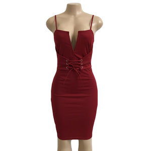 Deep V-Neck Lace Up Halter Bodycon Bandage Dress. (4 Colors Available)