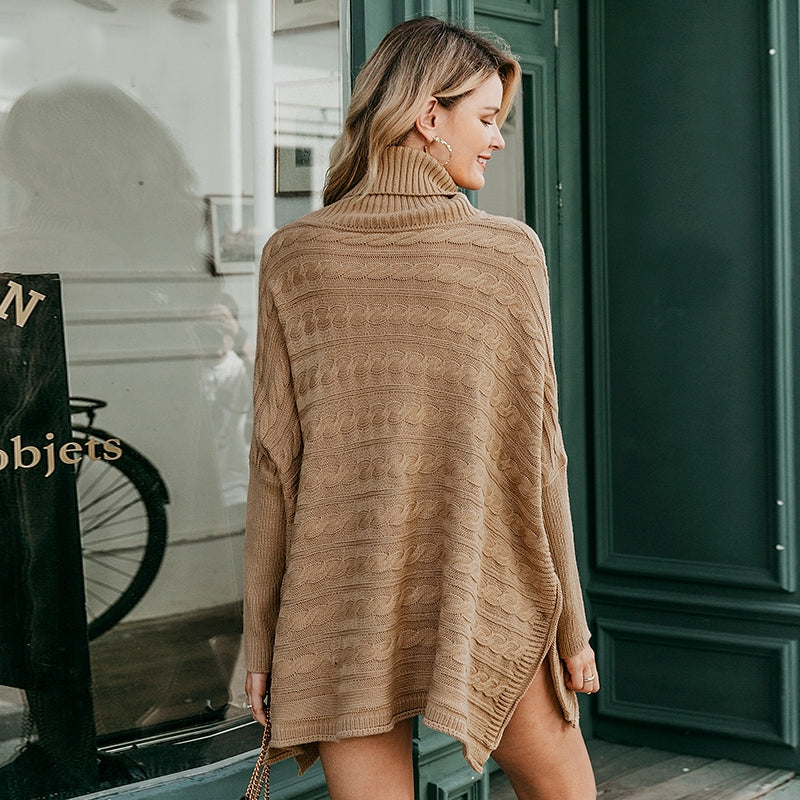 Batwing Sleeve Turtleneck Knitted Poncho Style Cloak Sweater Dress. (2 Colors Available)