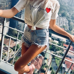 Vintage Rivet Tassel Ripped High Waist Denim Jeans Shorts.
