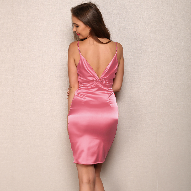 V-Neck Pleated Bodycon Spaghetti Strap Satin Dress.