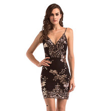 Gold Black Backless V-Neck Mini Sequins Dress. (5 Colors Available)