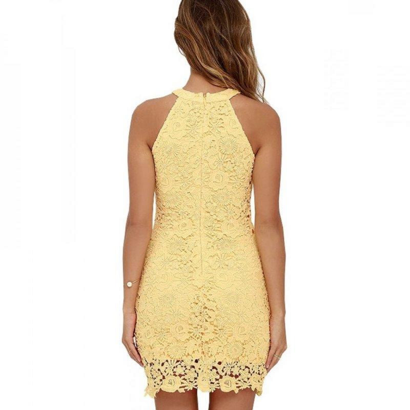 Sheath Halter Neck Sleeveless Bodycon Lace Dress. (5 Colors Available)