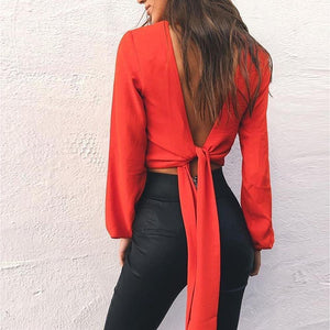 Backless Full Sleeve V-Neck Bow Chiffon Blouse. (4 Colors Available)