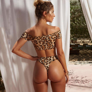 Mid Waist Off Shoulder Push-Up Leopard Print Two Piece Bikini.