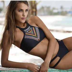 High Neck Geometric Print Push Up Two Piece Bikini. (8 Colors Available)