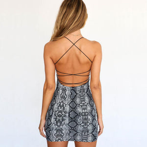 Backless Hollow Out Snake Skin Bodycon Mini Dress.