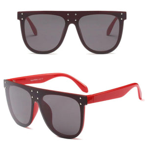 Oversized Flat Top Shield Style Rivet Designer Sunglasses. (5 Colors Available)