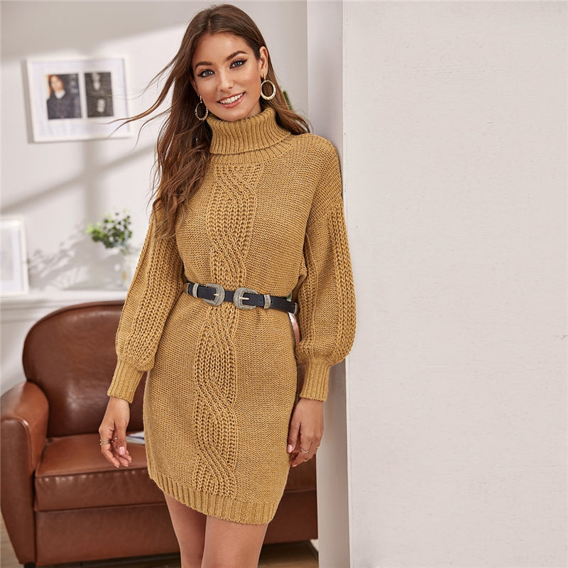 Lantern Sleeve Short Straight Turtleneck Knitted Sweater Dress. (Without Belt)