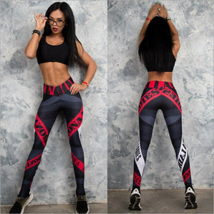 Letter Prints Slim High Waist Fitness Leggings. (Quick-Dry Knitted Tights)