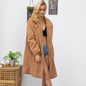 Long Faux Fur Thick Shaggy Winter Teddy Coat.