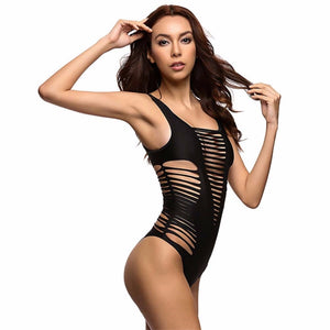 Hollow Cut Out Plunging V-Neck One Piece Swimsuit. (3 Colors Available)