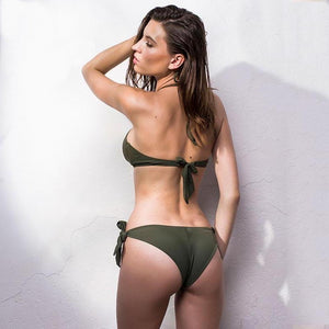 Low Waist Hollow Out Brazilian Style Two Piece Bikini. (4 Colors Available)
