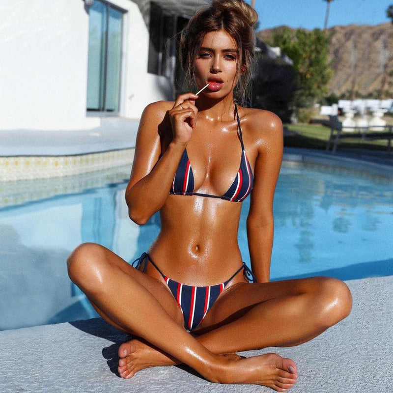 Bandage Push Up Striped Two Piece Bikini.