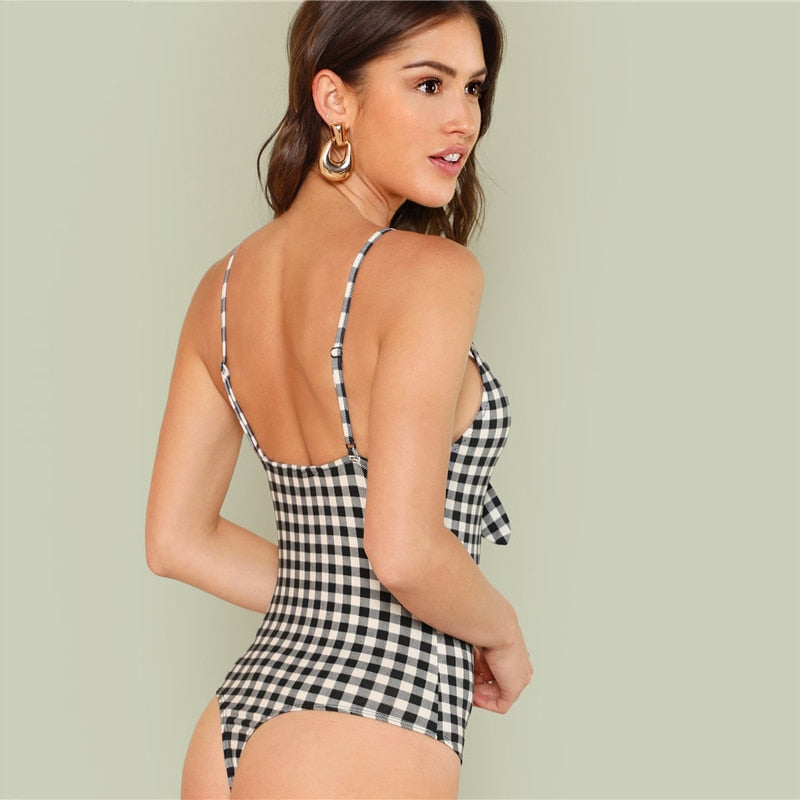 Backless Spaghetti Strap Deep V Cut Out Knot Bodysuit.