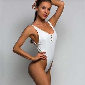 Backless High Cut One Piece Thong Swimsuit. (3 Colors Available)
