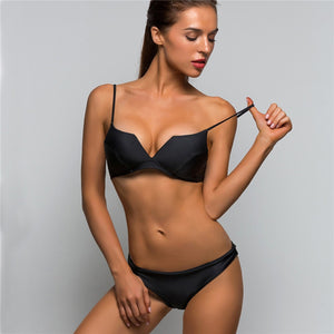 Low Waist V-Cut Brazilian Style Two Piece Bikini. (3 Colors Available)