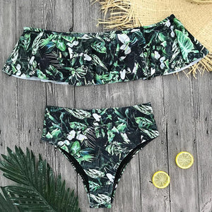 Off Shoulder High Waist Ruffle Push Up Two Piece Bikini. (5 Colors Available)