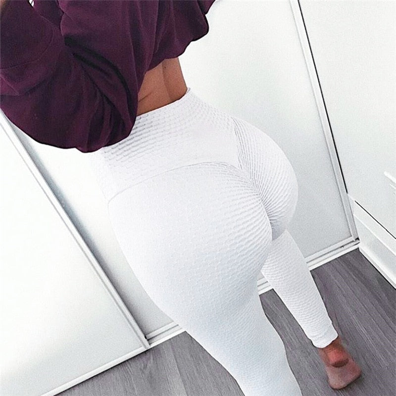 Ruching High Waist Push Up Fitness Leggings.