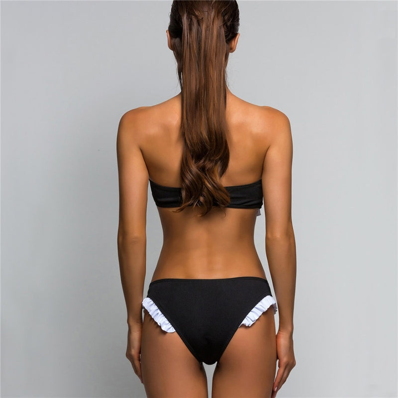Ruffle Bandeau Ribbed Two Piece Bikini. (4 Colors Available)