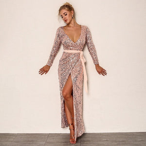 Twist Front High Split V-Neck Long Sleeve Sequined Dress. (2 Colors Available)